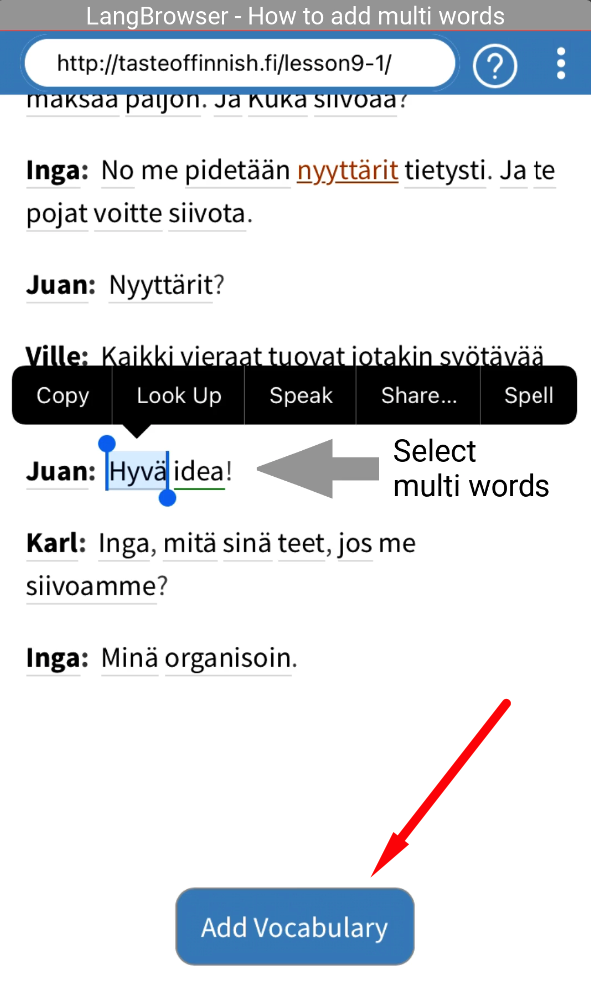 how to add multi words